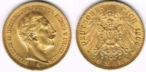 Монета Deutsches Kaiserreich 20 Mark 1906 A
