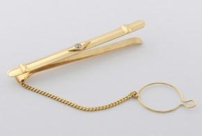 Игла за вратовръзка от жълто злато с циркон VR0007