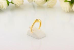 Годежен пръстен от жълто злато с диамант D2059