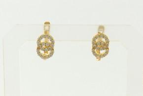 Детски златни обеци от жълто злато с циркони OBD0050