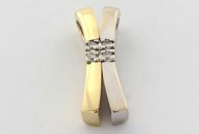 Висулка от бяло и жълто злато с диаманти VE866