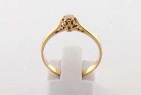 Годежен пръстен от жълто злато с диамант D2147