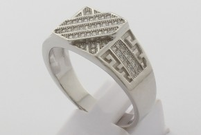 Мъжки сребърен пръстен с циркони SM0069