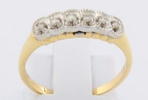 Дамски пръстен от бяло и жълто злато с диаманти D1178