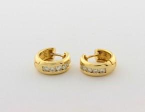 Обеци от жълто  злато с диаманти - 5,85  грама, диаманти - 12 *0,050  carata