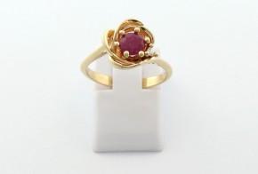 Годежен пръстен от жълто  злато с диамант D3083