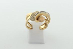 Дамски пръстен от жълто злато с циркони DD0203