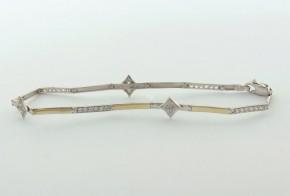 Златна  гривна от бяло злато с циркони GR0170