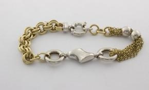 Златна гривна от бяло и жълто злато GR0016 - дължина 20 см., ширина 14 мм.