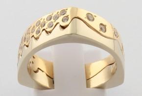Дамски пръстен от бяло и жълто злато с циркони DD0144