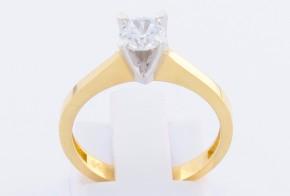 Годежен пръстен от бяло и жълто злато с циркон GD0110
