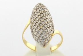 Дамски пръстен от бяло и  жълто злато с циркони  DD0030
