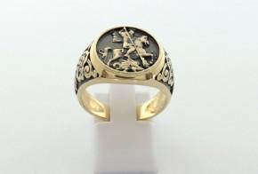 Мъжки пръстен от жълто злато със Свети Георги MD0075