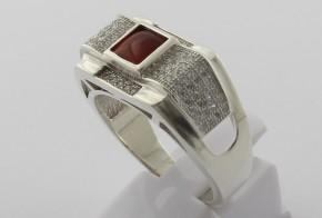 Мъжки сребърен пръстен с циркони SM0026