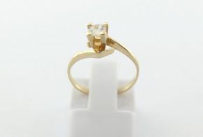 Годежен пръстен oт  жълто злато с циркон GD0178