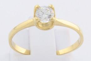 Годежен пръстен от жълто злато с циркон GD0148