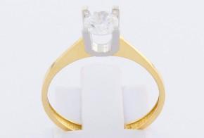 Годежен пръстен от бяло и жълто злато с циркон GD0122