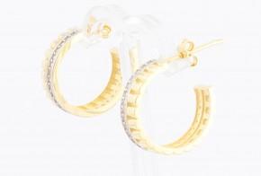 Златни обеци халки от бяло и жълто злато с циркони OB0151