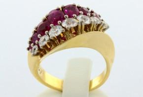 Дамски пръстен от жълто злато с диаманти  и рубини  18 карата D967