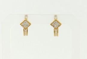 Детски златни обеци от жълто злато с циркони OBD0039