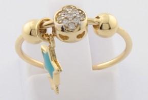 Дамски пръстен от жълто злато с циркони DD0114