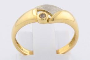 Годежен пръстен от бяло и жълто злато с диамант D562
