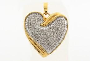 Сребърен медальон - сърце с позлата и диаманти CSD0020