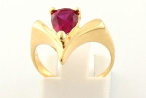 Дамски пръстен от жълто злато с циркони DD0081