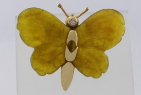 Златна висулка с ахат и диамант V226