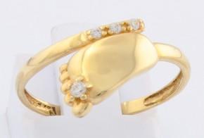 Дамски пръстен от жълто злато с циркони DD0102