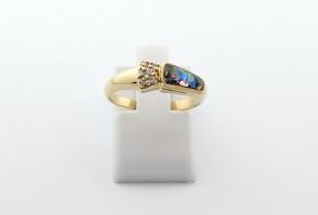 Дамски пръстен от жълто злато с циркон DD0209