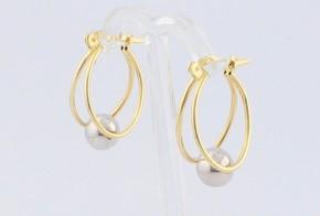 Златни обеци от бяло и жълто злато OB0146