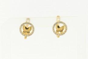 Детски златни обеци от жълто злато с циркони OBD0040