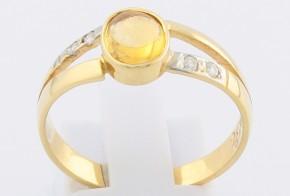 Дамски пръстен от жълто злато с цитрин и диаманти D836