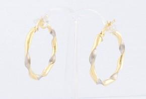 Златни обеци халки от бяло и жълто злато OB0134