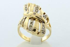 Дамски пръстен от бяло и жълто злато с циркони  DD0020