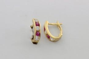 Дамски обеци от жълто злато с циркони - 2,48 грама, дължина на обеците 15мм., ширина 4 мм.