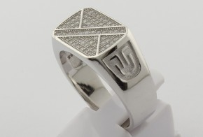 Мъжки сребърен пръстен с циркони SM0041