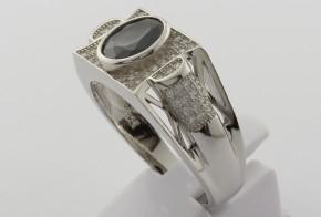 Мъжки сребърен пръстен с циркони SM0030