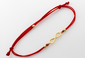 Златна гривна с червен конец безкрайност  ZGC0005