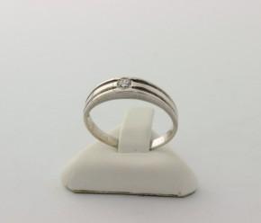 Годежен пръстен от бяло злато с циркон- 2,28 грама, размер 55