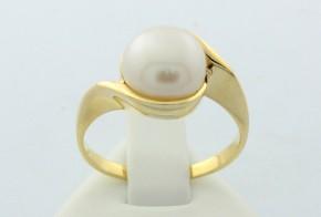 Дамски пръстен от жълто злато с перла  DD0008