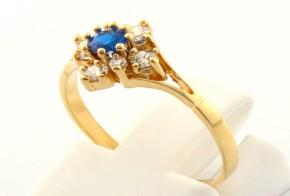 Дамски пръстен от жълто злато с циркони DD0087