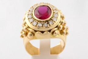 Мъжки пръстен от жълто злато с циркони РУСЕНСКИ MD0056