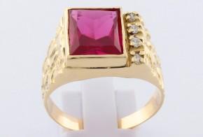 Мъжки пръстен от жълто злато с циркони MD0069