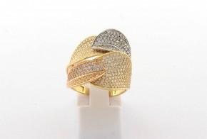 Дамски пръстен от бяло и жълто  злато с циркони DD0191