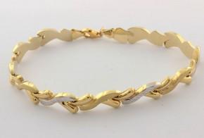 Златна  гривна от бяло и жълто златo GR0163
