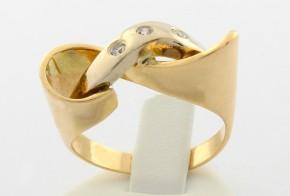 Дамски пръстен от бяло и жълто злато с циркони DD0040