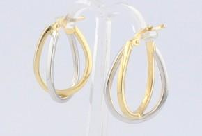 Златни обеци от бяло и жълто злато OB0145