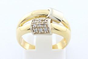 Дамски пръстен от бяло и жълто злато с циркони
